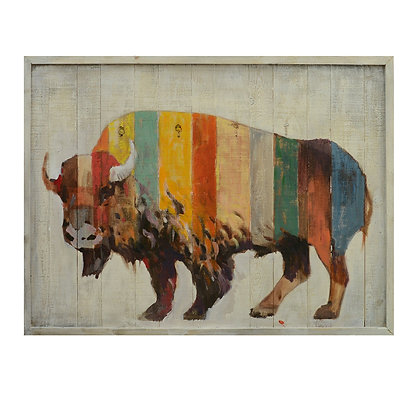 """Solid Wood Colorful """" Bruno"""" the Buffalo Panel  30 x 40 Inches"""