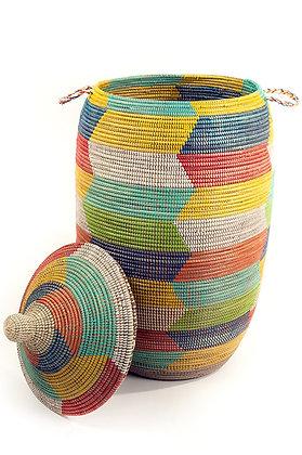 Oversized Rainbow Herringbone Storage Basket
