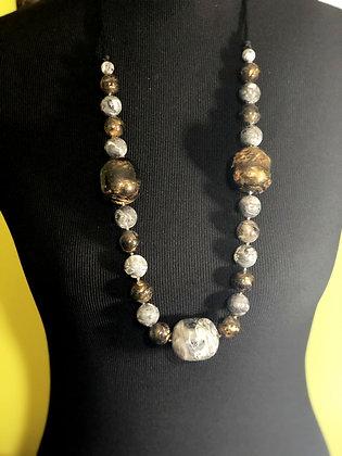 Chunky Resin Stone-like Long Necklace w/ Earrings