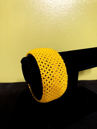 Tanzanian Handcrafted Yellow Beaded Wide Bangle