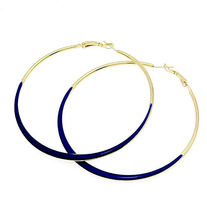Neon Glaze Blue/Gold Hoop Earrings