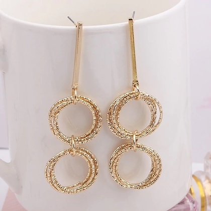 Gold-tone Multi-layer Circle Geometric Earrings