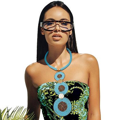 Blue Circle  Bead Drop Necklace Set