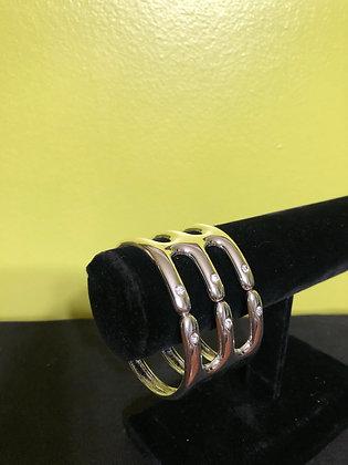 White Silvertone Crystal Bracelet