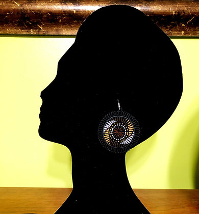 Disc Beaded Earrings-Black/Brown Design