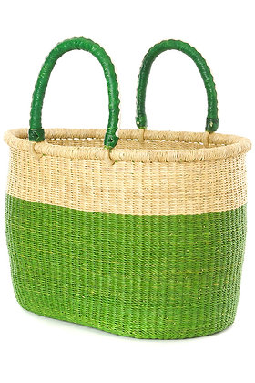 Cilantro Color Shopper with Leather Handles