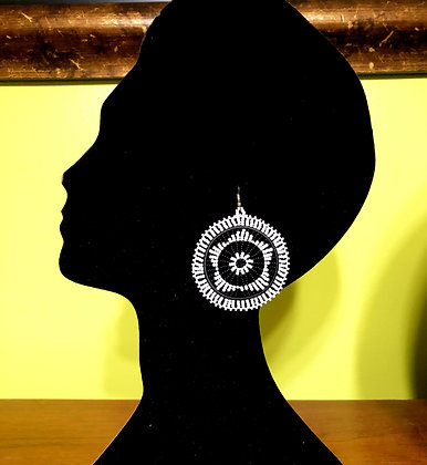 Disc Beaded Earrings-White Design