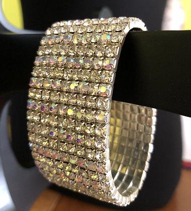 9-Tiered Sparkling Iridescent Rhinestone Stretch Bracelet