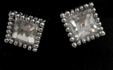 Square Stud Crystal Designed Earrings