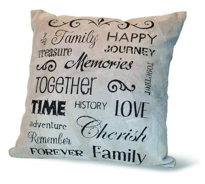 """FAMILY, HAPPY, MEMORIES"" RECYCLED LEATHER PILLOW"