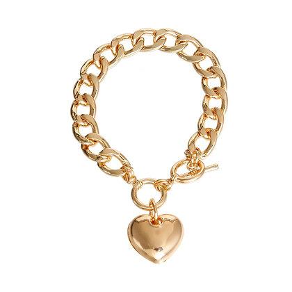 Gold Metal Heart Toggle Bracelet