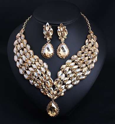 Exaggerated Full Crystal Champagne-Colored  Necklace Set