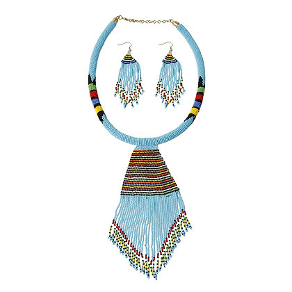 Blue Bead Tassel Necklace Set