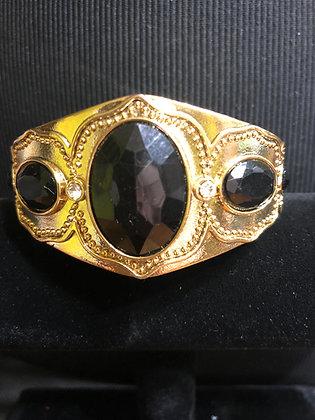 Black Stone Goldtone Designed Bracelet