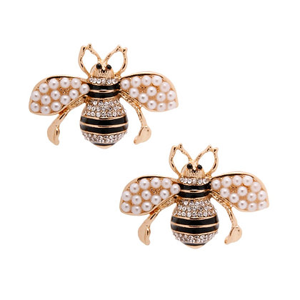 Pearl Gucci Style Bee Studs