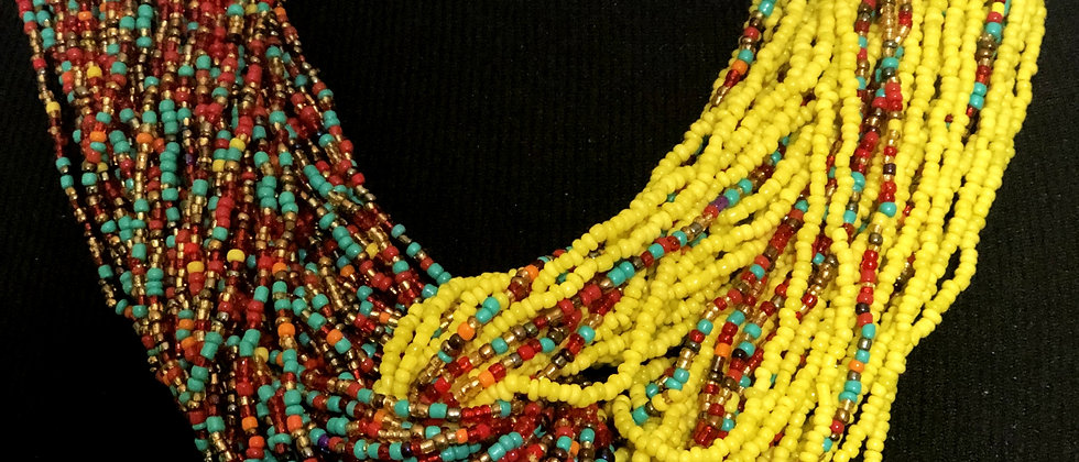 Multicolored w/Yellow Glass Beaded Necklace