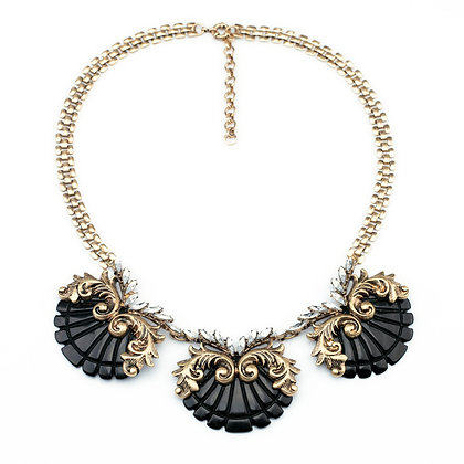 Black Resin and Rhinestone Designed Decorative Necklace