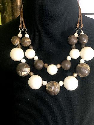 Double Layered Swirl Resin Necklace w/ Earrings