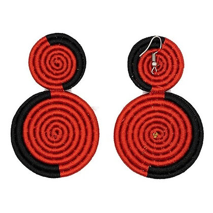 Woven 2-Tier Sisal Earrings..Red/Black