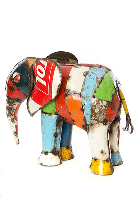 Large Colorful Recycled Drum Elephant Sculpture