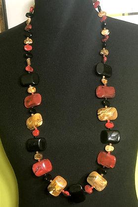 Flat Resin Marble-Like Resin Necklace w/ Earrings