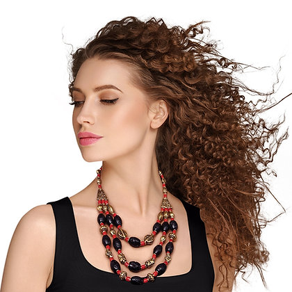 Unique and Stylish Black/Red/Burnished Gold  Bead Bohemian Necklace