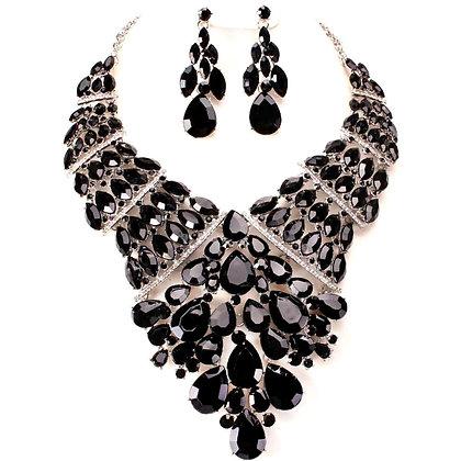 Black Marquise Crystal Bib Set