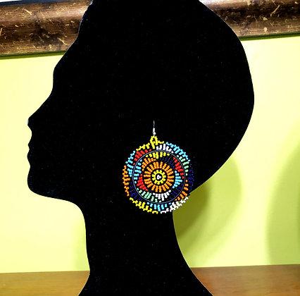 Disc Beaded Earrings Multi-Color Design
