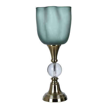"""Beautiful SET of  Glow 24""""  60 watt Antique Brass and Clear Uplight Table Lamp"""