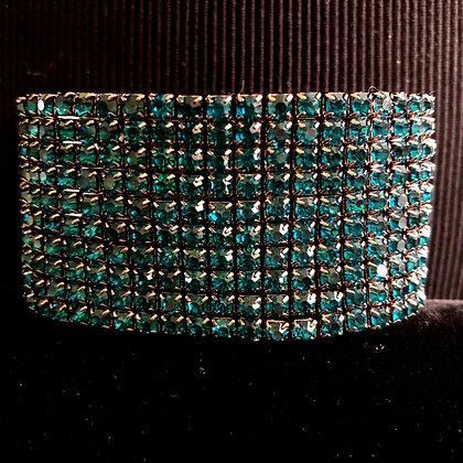 10-Tiered Sparkling Turquoise Rhinestone Stretch Bracelet