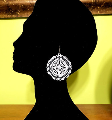 Disc Beaded Earrings-White Design