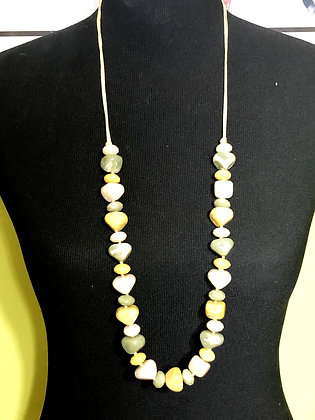 Disc-Shaped Resin Marble-like Necklace w/ Earrings