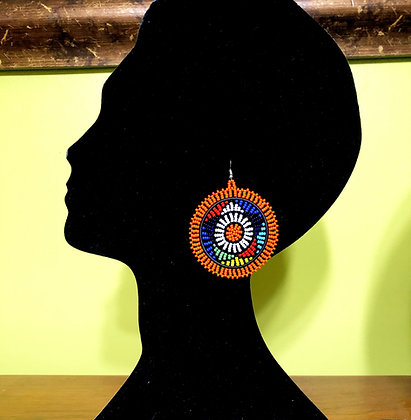 Disc Beaded Earrings-Orange Design