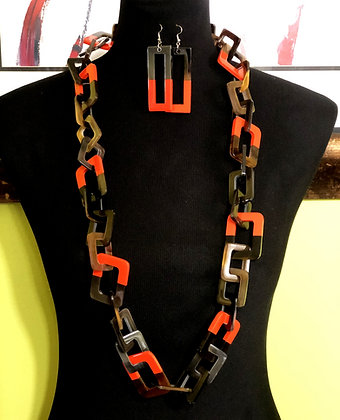 100% Buffalo Horn Orange Lacquer Necklace and Earrings