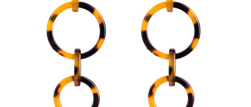 Multi-layer Hollow Acrylic Round Long Drop Earrings