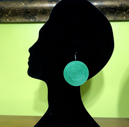 Woven Sisal Straw Disc Earrings-Green_Medium