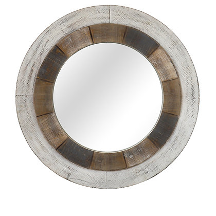 Turning Reflection Natural White Round Wall Mirror