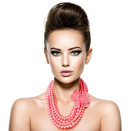 Pink Flower and Pearl Necklace Set