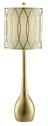 "Two (2) Carrington Gold Leaf White Table Lamp  39"" Tall"