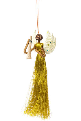 Three (3) Banana Fiber & Gold Thread Angel Ornament