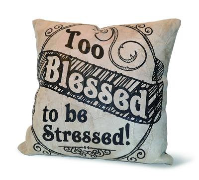 """TO BLESSED FOR STRESS"" RECYCLED LEATHER PILLOW"