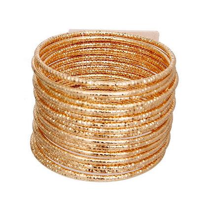 Thick and Elegant Gold Metal 20 Diamond Cut Bangles