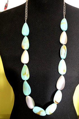 Blue and Silver Resin Necklace w/ Earrings