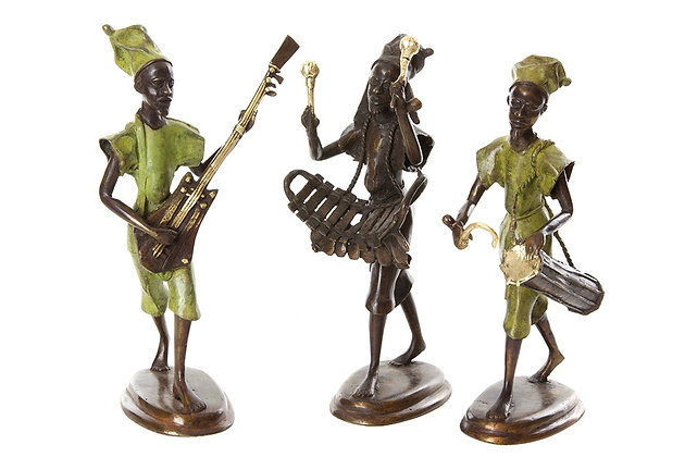 (3) Hand Sculptured Bronze  Griot Musicians Trio
