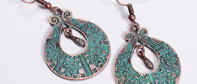 Vintage Green Copper Earrings