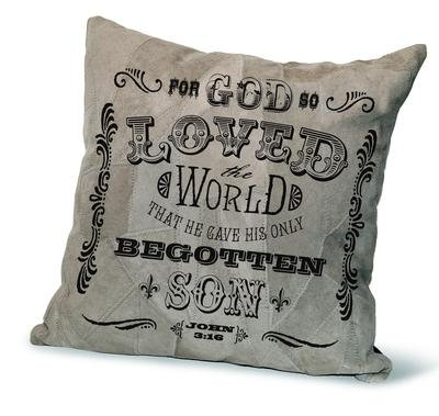 """GOD SO LOVED THE WORLD"" RECYCLED LEATHER PILLOW"