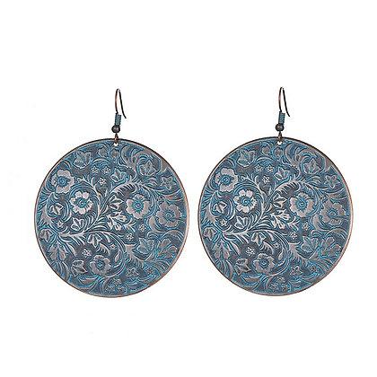 Blue Flower Design Retro Copper Round Earring