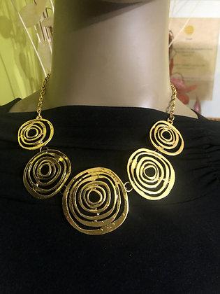 Spiral/Circles Goldtone Necklace Set