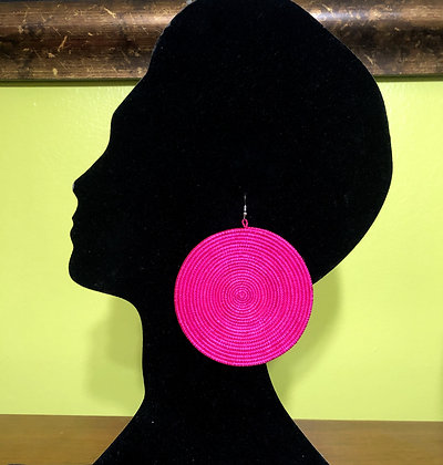 Woven Sisal Straw Disc Earrings-Pink_Large