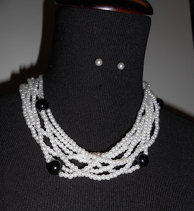7 Strand White Faux Necklace with Black Beads